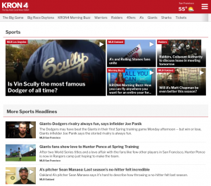 KRON Sports webpage