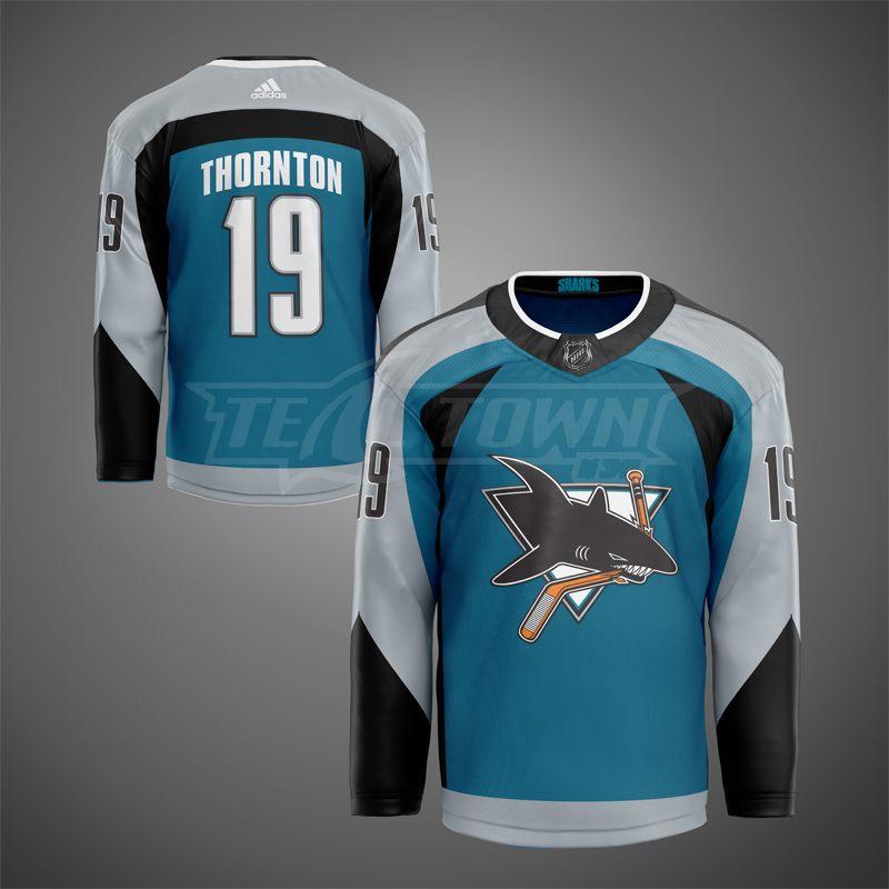 2nd generation San Jose Sharks jersey mock - home