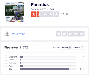 TrustPilot Fanatics Reviews